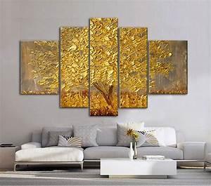 Aliexpress.com : Buy 5 panels Abstract Golden Tree oil ...