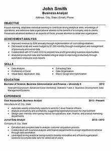 Objective Example On A Resumes Data Analyst Resume Example Business Finance