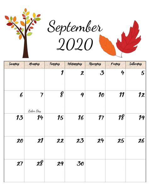 floral cute september  calendar printable template
