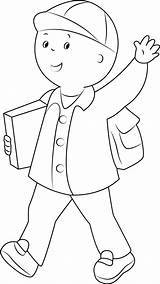 Caillou Coloring Say Hi Pages Going Printable Alone Cartoon Categories Coloringpages101 Template sketch template
