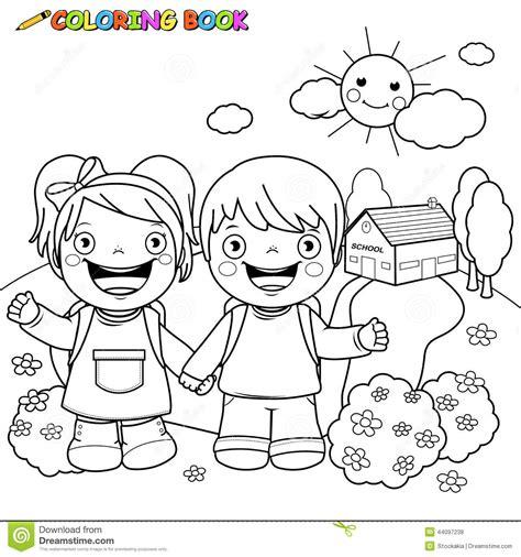 enfants de livre de coloriage 224 l 233 cole illustration de