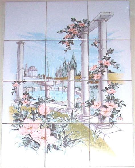 closeout garden columns ceramic tile mural flower