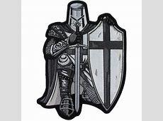 Crusader Kneeling Knight Black White Large Back Patch