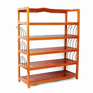 Zimtown, Shoe, Shelf, Simple, Wooden, Shoe, Rack, With, 6, Pair, Shoe, Form, Wood, Color