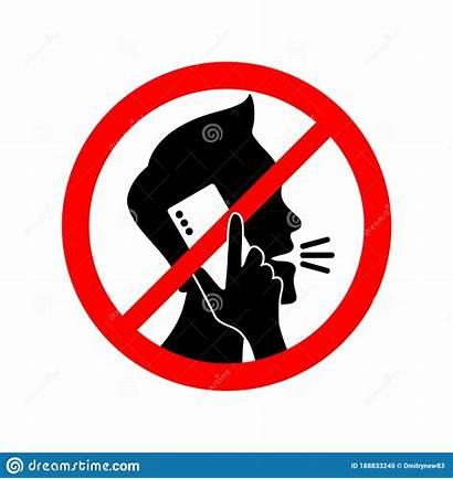 Talking Phone Sign Quiet Please Prohibition Human