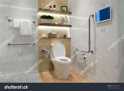 Interior Bathroom Disabled Elderly People Handrail Stock