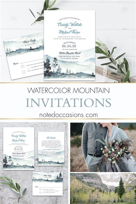 Mountain Wedding Invitation Template Watercolor Forest Modern