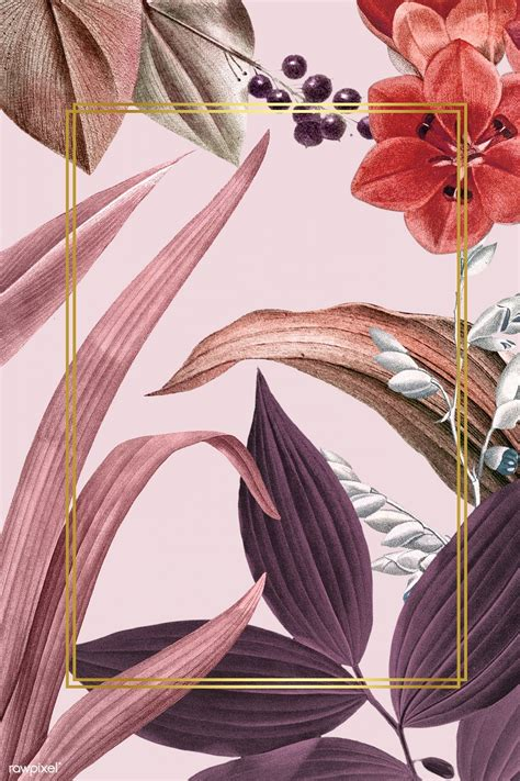 Download premium psd of Floral golden rectangle frame ...
