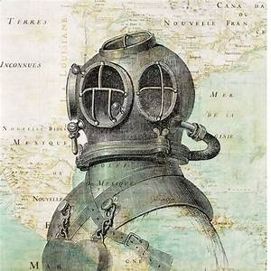 Scuba Diver Helmet Print antique map of East America Nautical