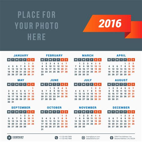 red ribbon typography calendar 2016 vector free vector graphic download