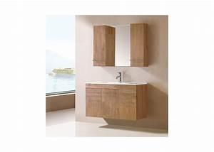 Meuble de salle de bain simple vasque bois naturel for Meuble salle de bain en bois naturel