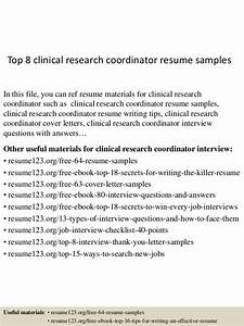 top 8 clinical research coordinator resume samples With clinical research coordinator resume