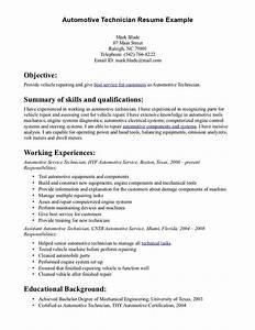 automotive technician resume skills automotive With automotive resume