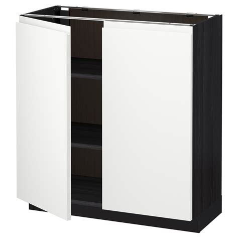 ikea base cabinets without legs metod base cabinet with shelves 2 doors black voxtorp