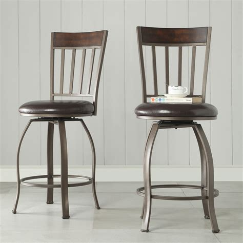 keyaki rustic bronze swivel counter height stools set of