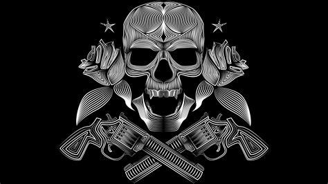 skull gun  roses  hd artist  wallpapers images