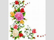 Vector colorful flower border free vector download 37,724