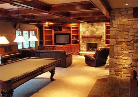 outstanding rustic basement design