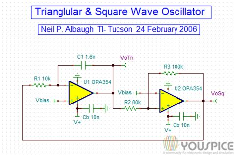 Triangular Square Wave Oscillator Youspice