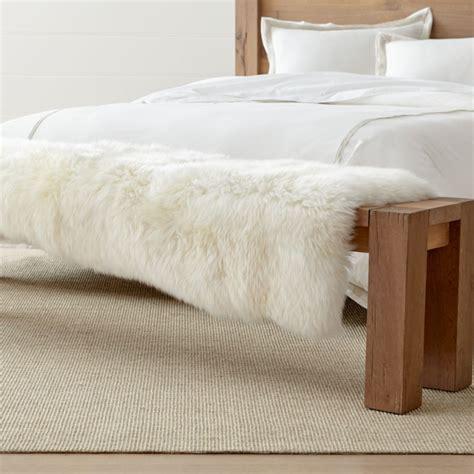 sheepskin fur bed throw reviews crate  barrel