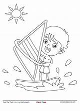 Coloring Boat Sailing Kid Serfer Fun Sheet Kidzezone Sail Cartoon Kolorowanka Motor sketch template