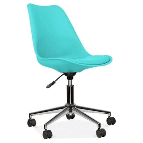 eames inspired turquoise office chair  castors cult uk