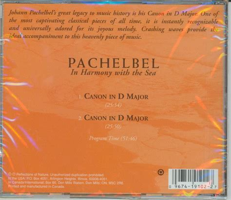 pachelbel in harmony with the sea cd canon in d major ebay