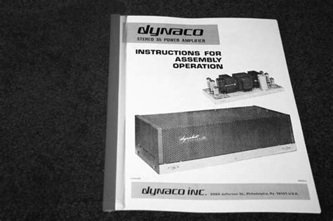 Dynaco Stereo Tube Amplifier Owner Assembly Manual