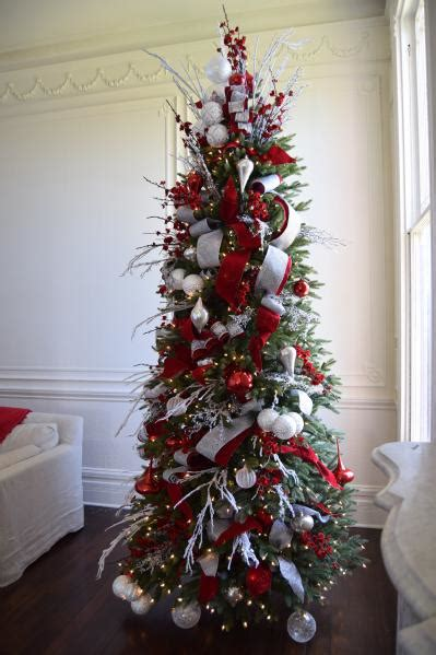 brad schmidts red white  sparkle christmas tree