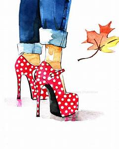Fashion art print, Shoes fashion from Rongrong Illustration