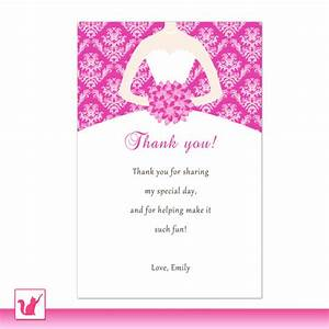 printable personalized fuchsia hot pink damask thank by With wedding shower thank you wording