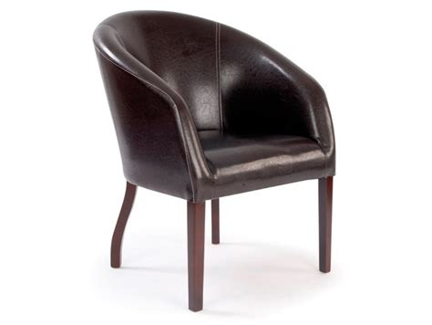 Metro Curved Brown Leather Reception Armchair