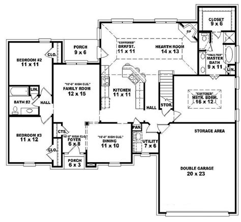 3 bedroom house plans one single open floor plans one 3 bedroom 2