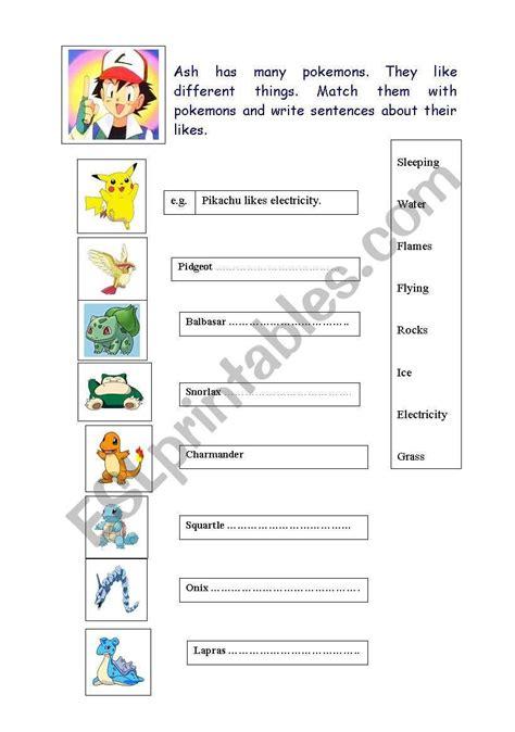 pokemon worksheet vocabulary skills grammar
