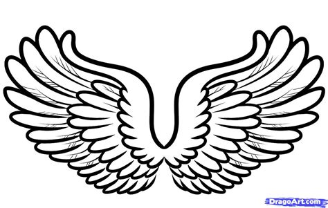 Pencil And In Color Drawn Wings Cartoon