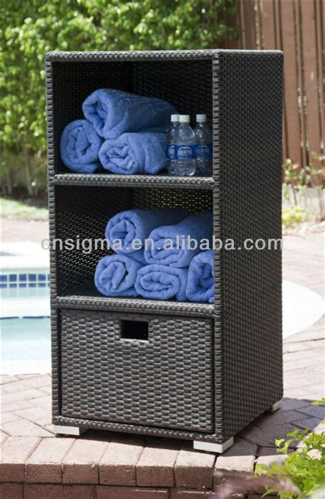 outdoor pool towel storage cabinet 2014 outdoor towel rattan storage unit deck box storage