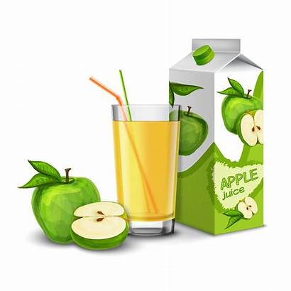 Juice Apple Pack Vector Carton Background Glass