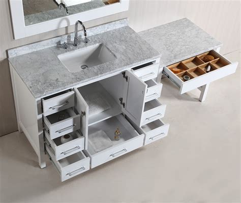 single sink vanity with makeup table hyde 48 single sink vanity set in white finish