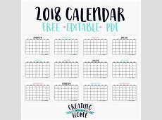 FREE 2018 Calendar *Editable PDF* creatingmaryshomecom
