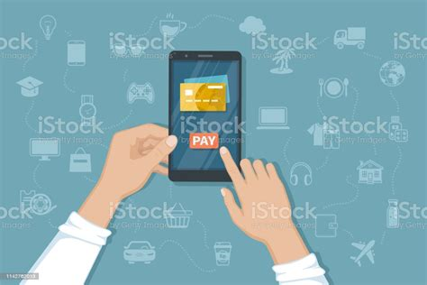 Putting bills on your credit card. Mobile Payment For Goods Services Shopping Using Smartphone Online Banking Pay With Phone Credit ...