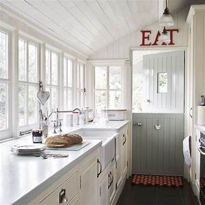 Wood panelled country kitchen vintage style for White country galley kitchen