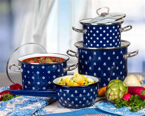 kitchen cookware set saxony enamel nonstick cooking pan pot  glass lid set   walmart