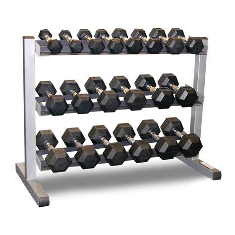 dumbbell set with rack solid 3 tier rack bodypower 1 10kg rubber hex