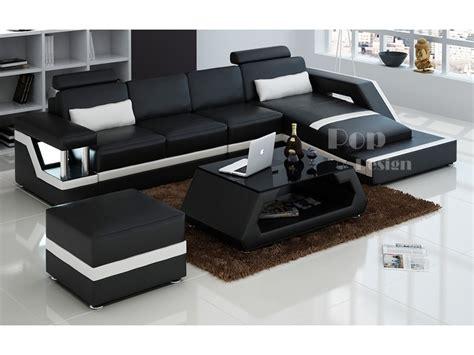 canapé d 39 angle design en cuir véritable tosca pouf pop
