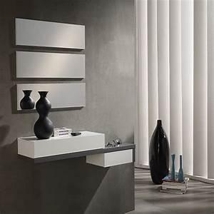 Meuble D Entrée Blanc : meuble d 39 entr e avec moderne blanc et gris moderne ~ Teatrodelosmanantiales.com Idées de Décoration