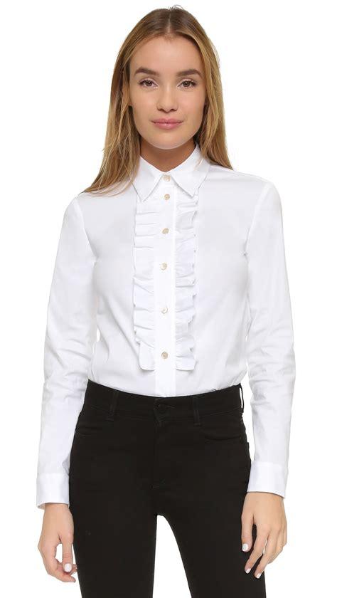 ruffled white blouse valentino ruffle blouse in white lyst