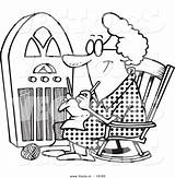 Coloring Granny Radio Cartoon Knitting Rockettes Drawing Vector Printable Template Getcolorings sketch template
