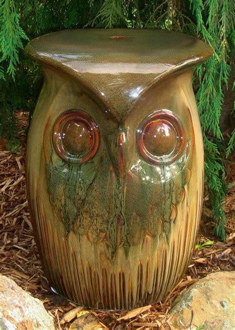 ceramic owl garden stool garden gardens