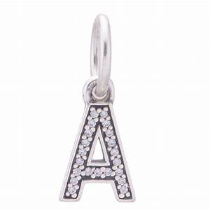 authentic pandora sterling silver letter a initial dangle With pandora silver letter charms