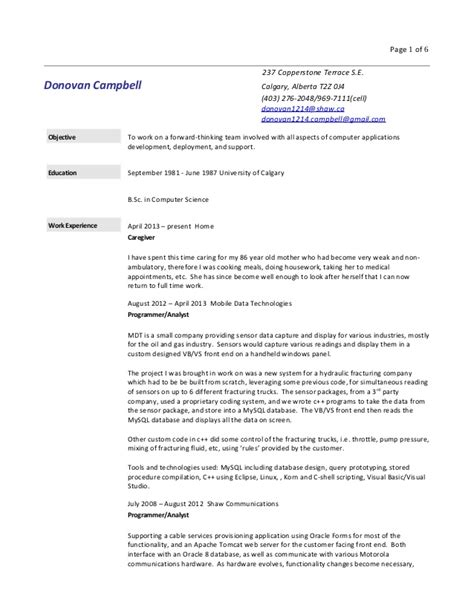 How Detailed Should A Resume Be by Donovan Cbell Detailed Resume